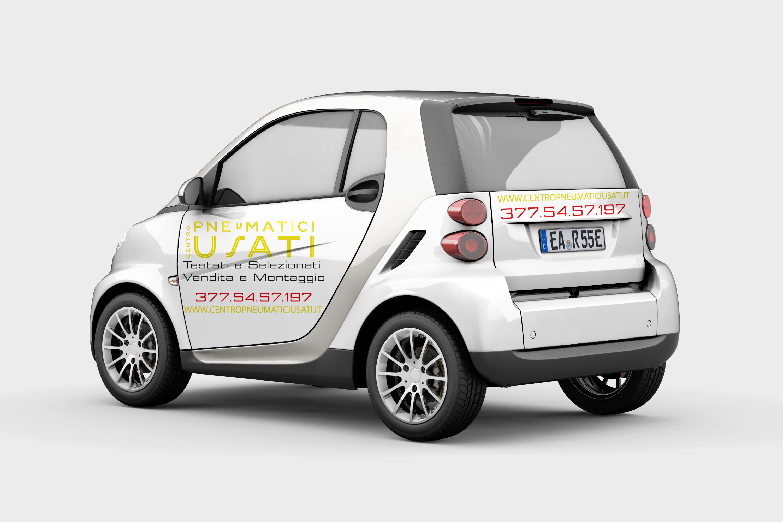 Realizzazione Grafica e Stampa PVC Adesivo per Auto Centro Pneumatici Usati
