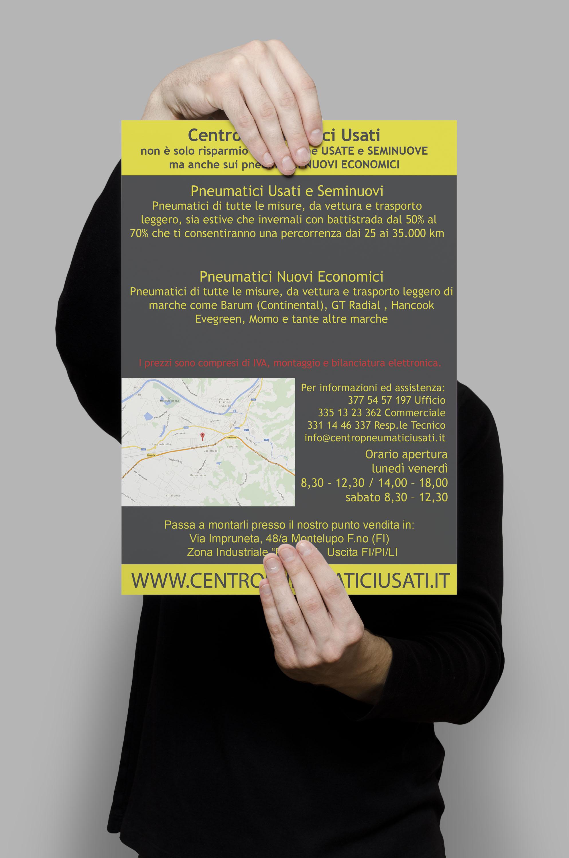 Realizzazione Grafica E Stampa Volantino 1 Centro Pneumatici Usati