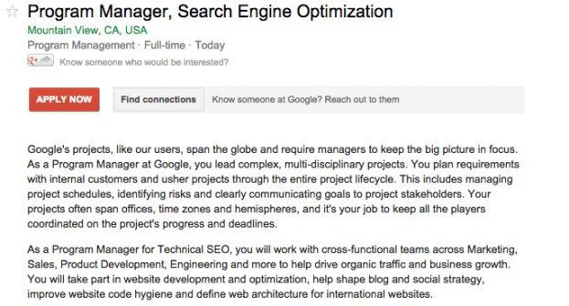Google Cerca Un Esperto SEO Per Posizionarsi Su Google