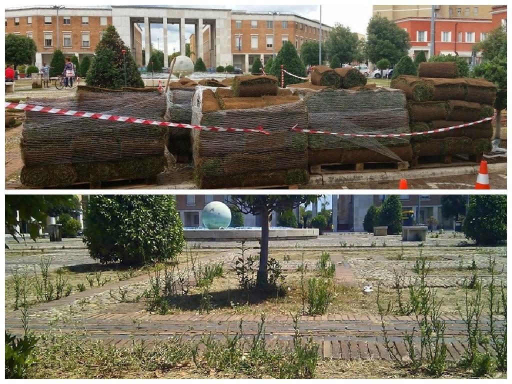 FOTO Piazza Del Popolo Nel Degrado, Il Prato Nuovo Fu Posato Solo Un Anno Fa