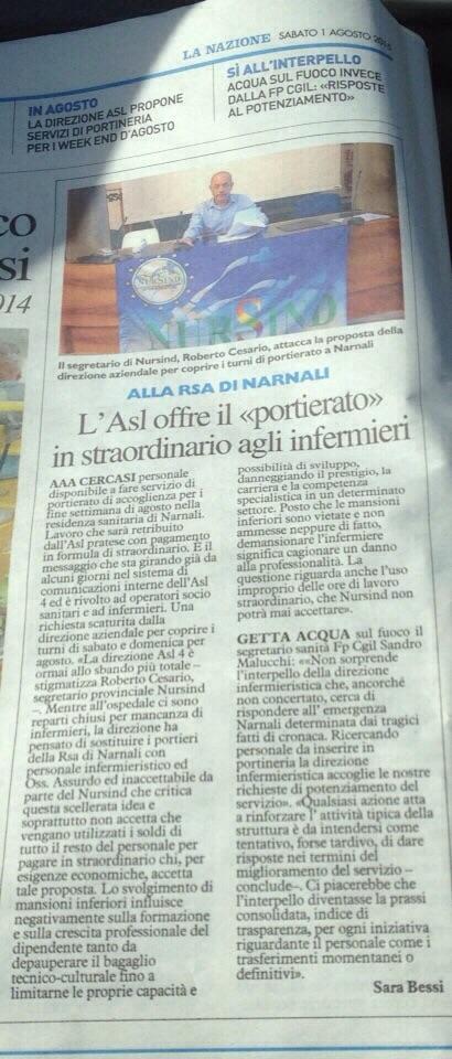 """Prato. L'Asl Offre Il """"portierato"""" In Straordinario Agli Infermieri"""