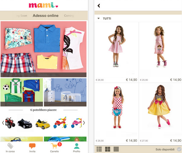 Mami: L'e-shop Di Prodotti Per Bambini Diventa App