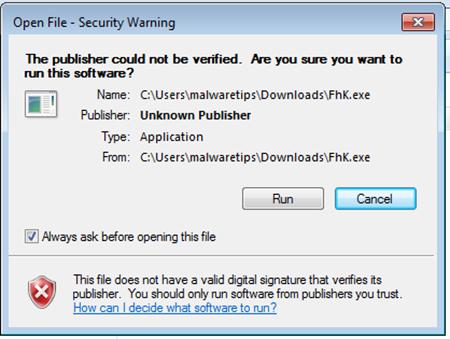 Avviso Windows installazione software