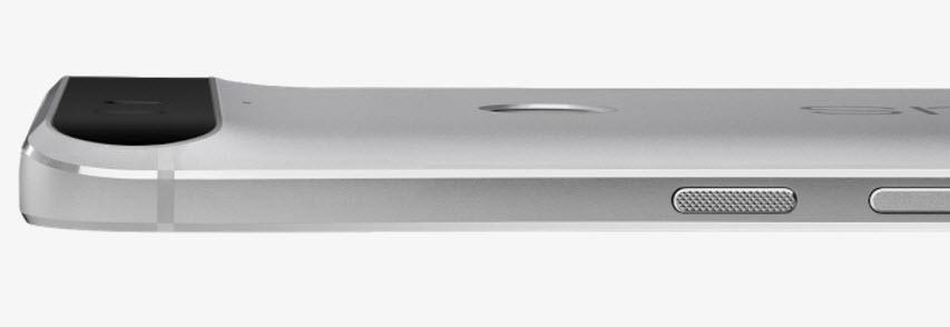 Nexus 6P, in evidenza il leggero rialzo per poter ospitare la lente fotografica in tutto il suo spessore